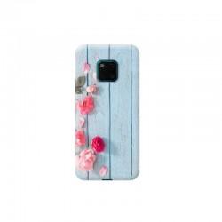 Huawei Mate 20 Pro ahsap ustunde pembe cicekli tasarımlı Telefon kılıfı Y-Bayanlara004