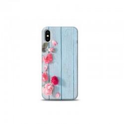 iPhone XS ahsap ustunde pembe cicekli tasarımlı Telefon kılıfı Y-Bayanlara004