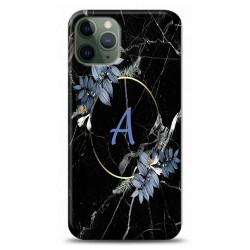 iPhone 11 Pro Max A Harfli Çiçekli Mermer Tasarımlı Telefon Kılıfı Y-Mrmcica