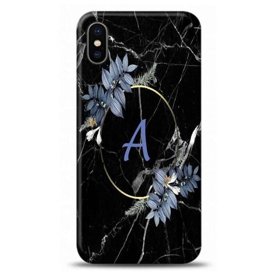 iphone Xs A Harfli Çiçekli Mermer Tasarımlı Telefon Kılıfı Y-Mrmcica