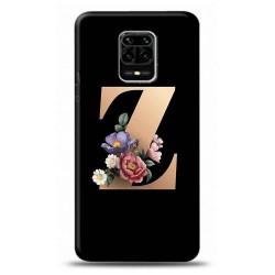 xiaomi Redmi Note 9S Z Harfli Siyah Çicekli Tasarımlı Telefon Kılıfı Y-syhhrfz