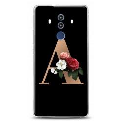 huawei Mate 10 Pro A Harfli Siyah Çicekli Tasarımlı Telefon Kılıfı Y-syhhrfA