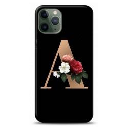 iPhone 11 Pro Max A Harfli Siyah Çicekli Tasarımlı Telefon Kılıfı Y-syhhrfA